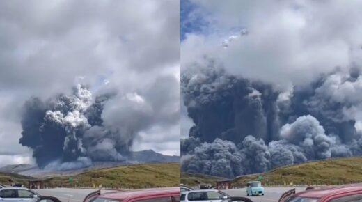 El monte Aso, el volcán activo más grande de Japón entró hoy en erupción